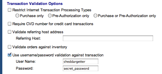 Transaction Validation Options