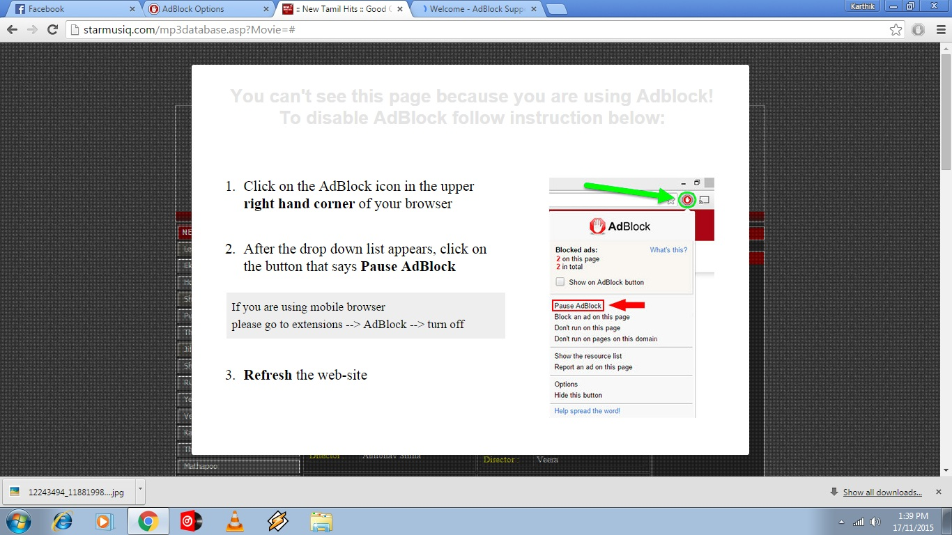 Adblock is not working fine for few websites   / Problems