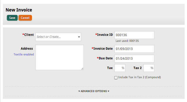 Creating a new invoice in Cashboard