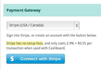 Connect to Stripe with Cashboard for online payments