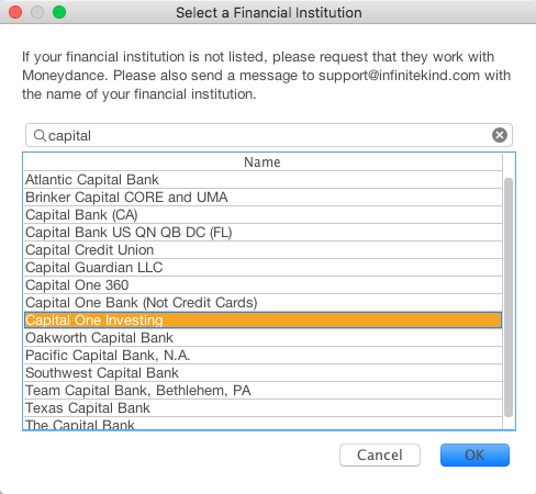 problem connecting to Capital One Investing / Online Banking