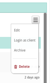 Login as client menu