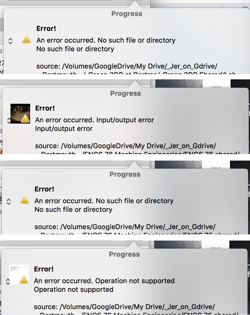 PF8 Error when deleting a file on Google File Stream / Problems