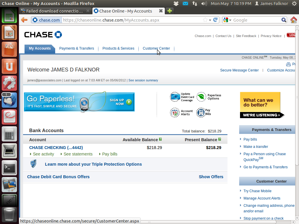 chase online banking customer service