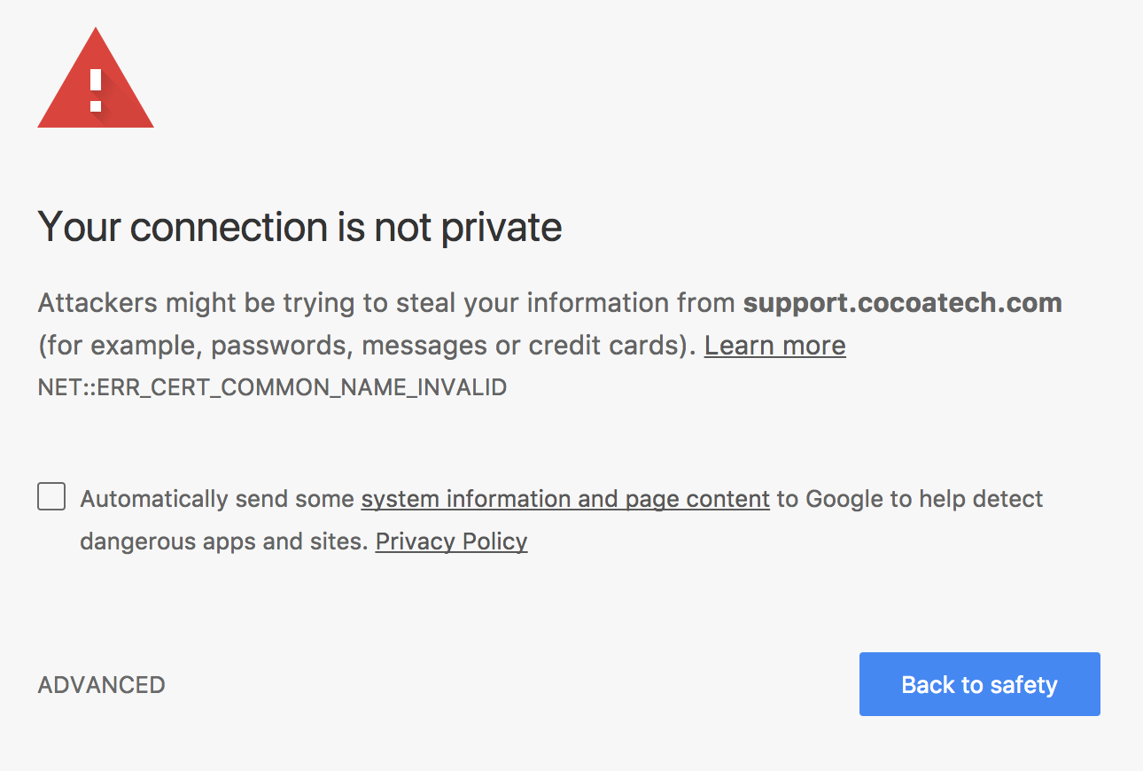 Cocoatech Support Ssl Certificate Issue Problems Questions Bug