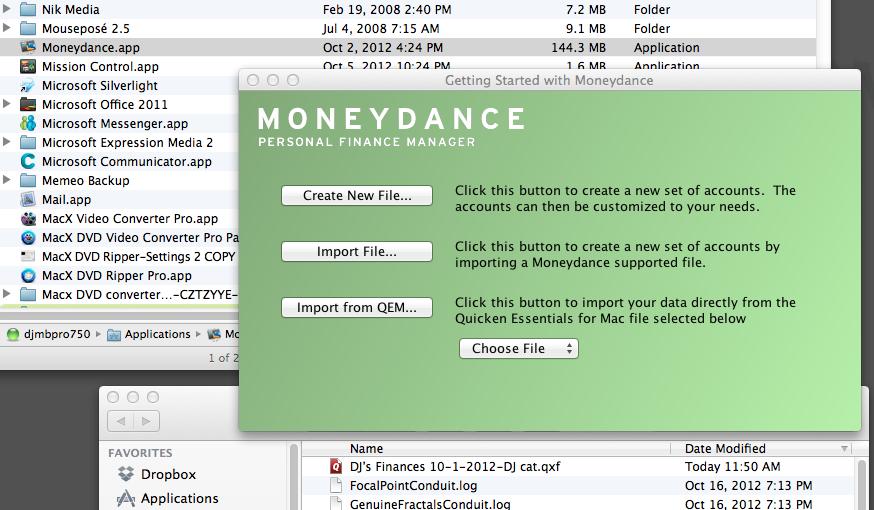 Moneydance won't import Quicken Essentials for Mac