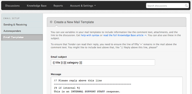 Creating a new email template