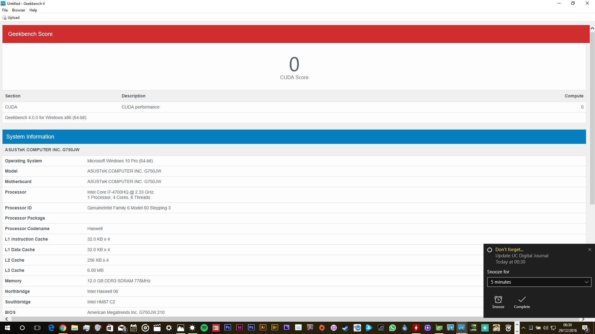 Geekbench 4 Compute tests CUDA / OpenCL showing zero score