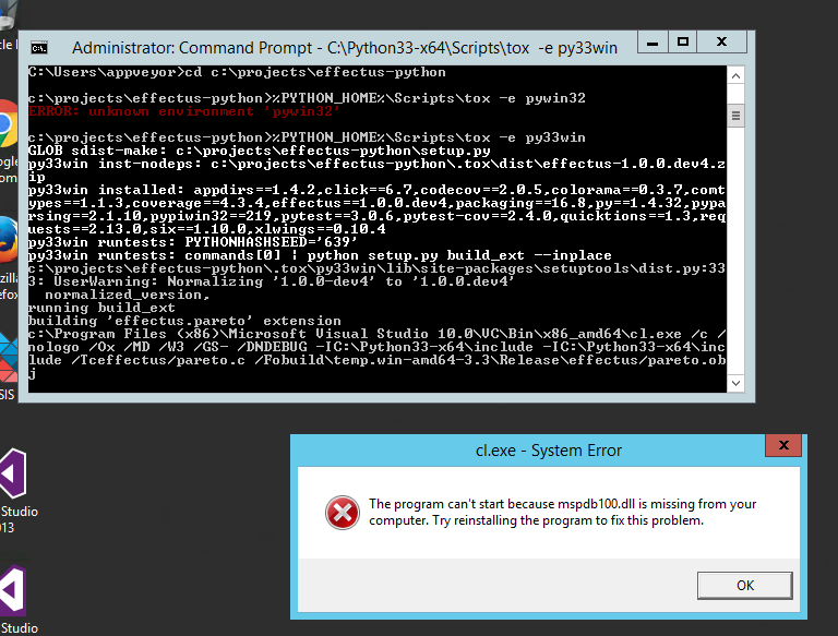 Visual Studio's cl exe fails only with Python 3 3 and 3 4 and only