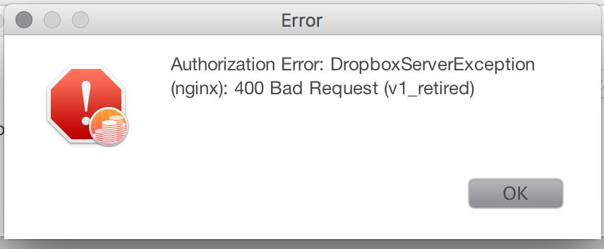 Dropbox Sync - Authorization Error: DropboxServerException (nginx