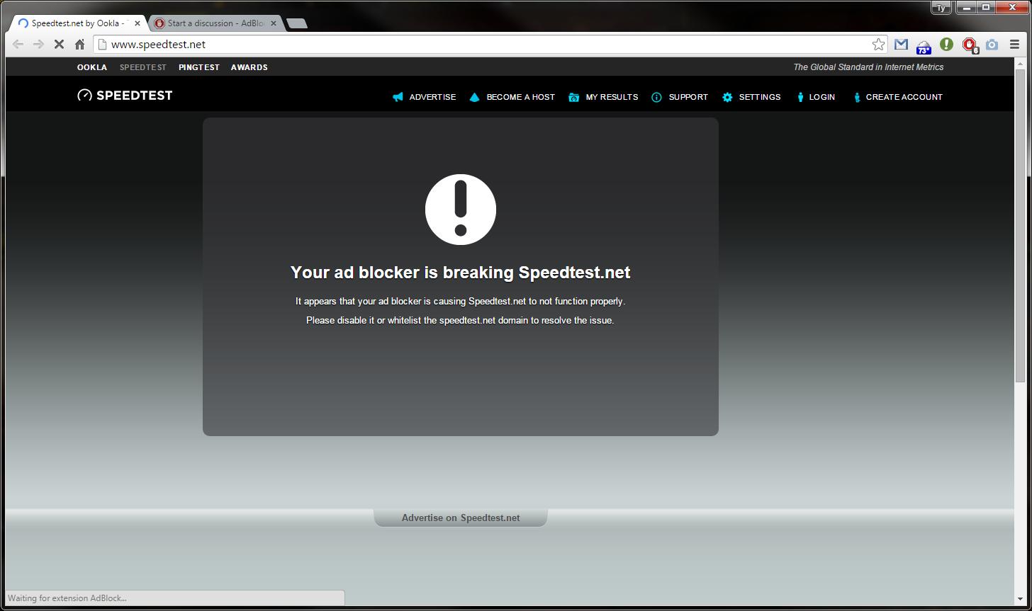 Speedtest net test screen suddenly being blocked by Adblock