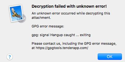 Decryption failed with unknown error     signal hangup caught