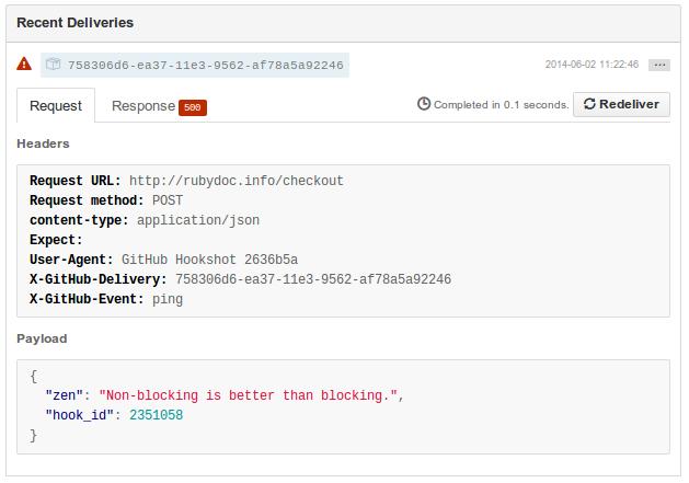 Webhook from Github returns error (http status 500