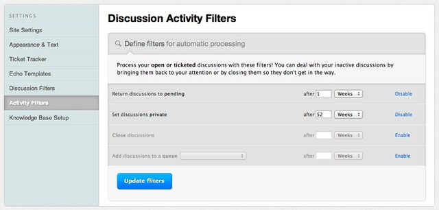 Activity Filters